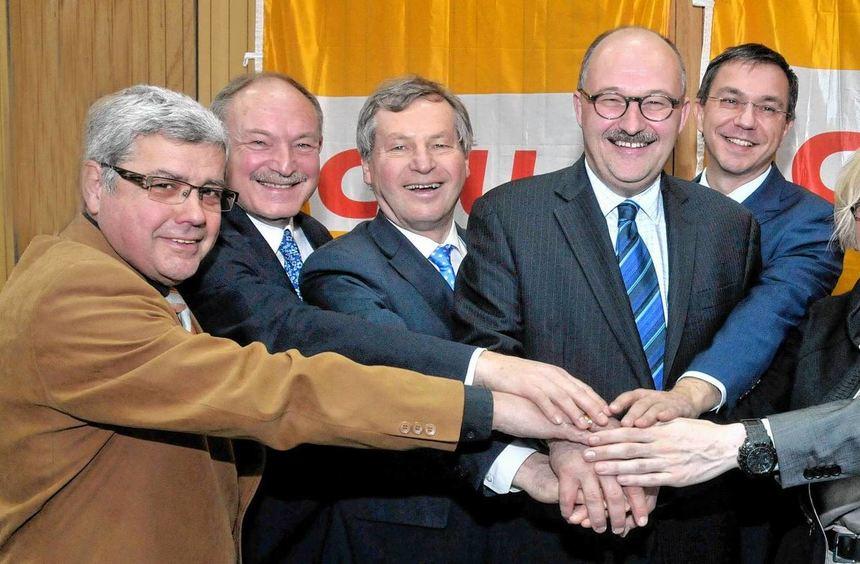 Der am Samstag gewählte geschäftsführende Vorstand der CDU Bergstraße (v.l.): Walter Wiedemann, ...
