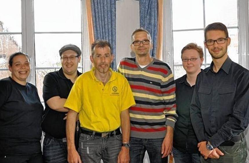"""Der Vorstand des Vereins """"Guggen gegen Gewalt"""" mit Melanie Fahrbach-Spitzer von der Schweigerner ..."""
