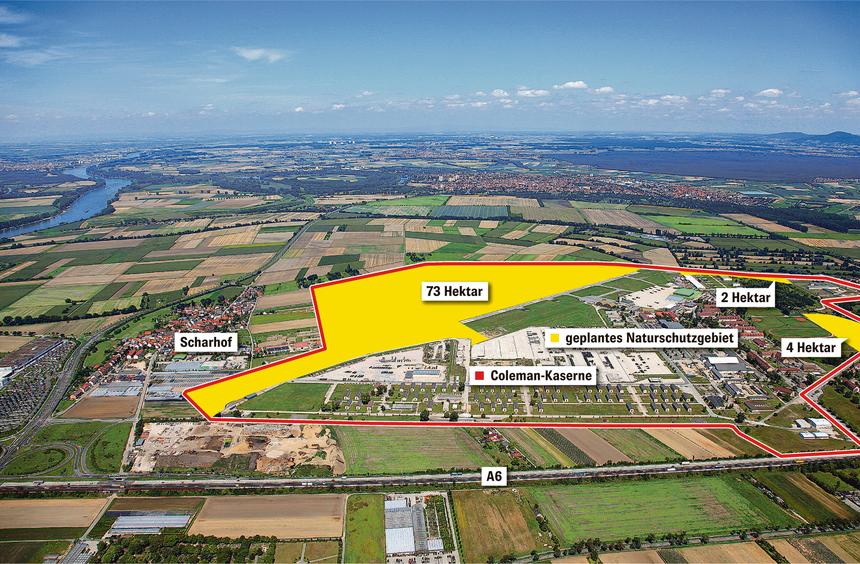 Ein Hektar sind 10 000 Quadratmeter. Mit ihren 213 Hektar ist die Coleman-Kaserne ungefähr fünf Mal ...