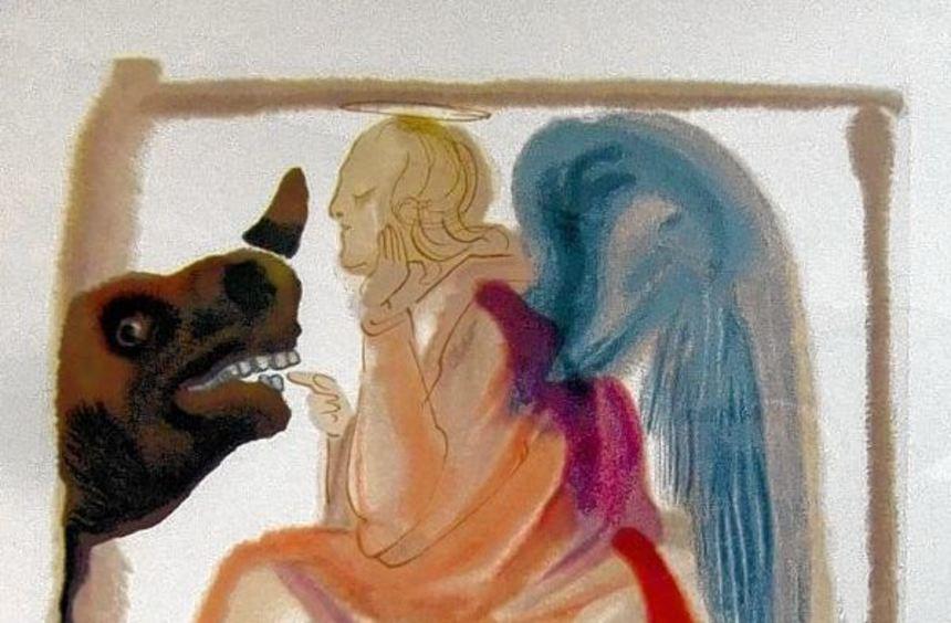 """Salvador Dalí, Illustration zur """"Göttlichen Komödie"""", Gesang 26: Johannes prüft die Liebe."""