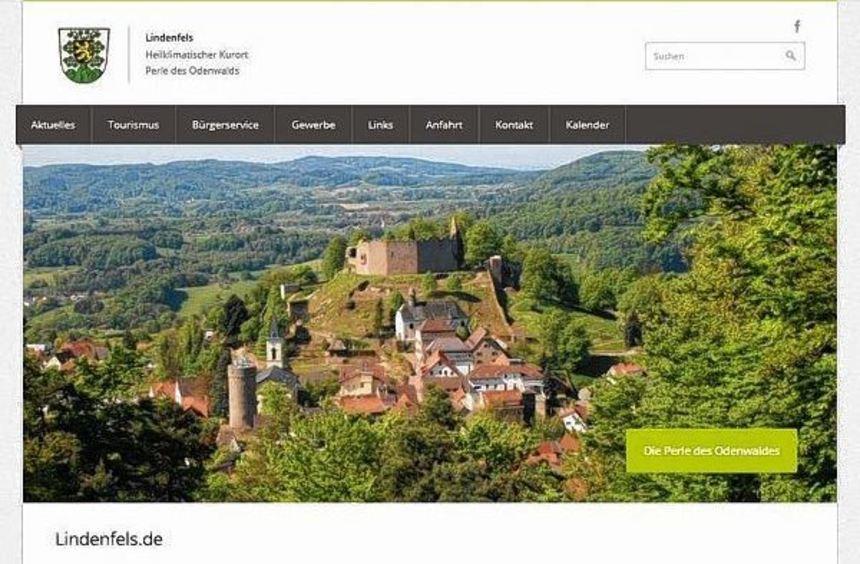 Ein Screenshot von der neuen Homepage der Stadt Lindenfels.