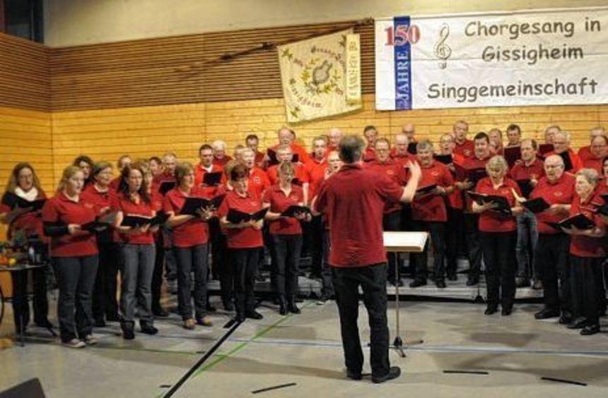 Beim geselligen Singen im Dorfgemeinschaftshaus in Gissigheim trugen die teilnehmenden Chöre ...