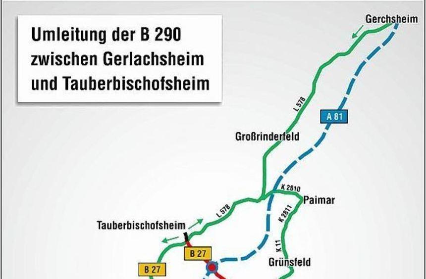 Die B 290 zwischen Tauberbischofsheim und Gerlachsheim wird wegen der Erneuerung der Fahrbahndecke ...