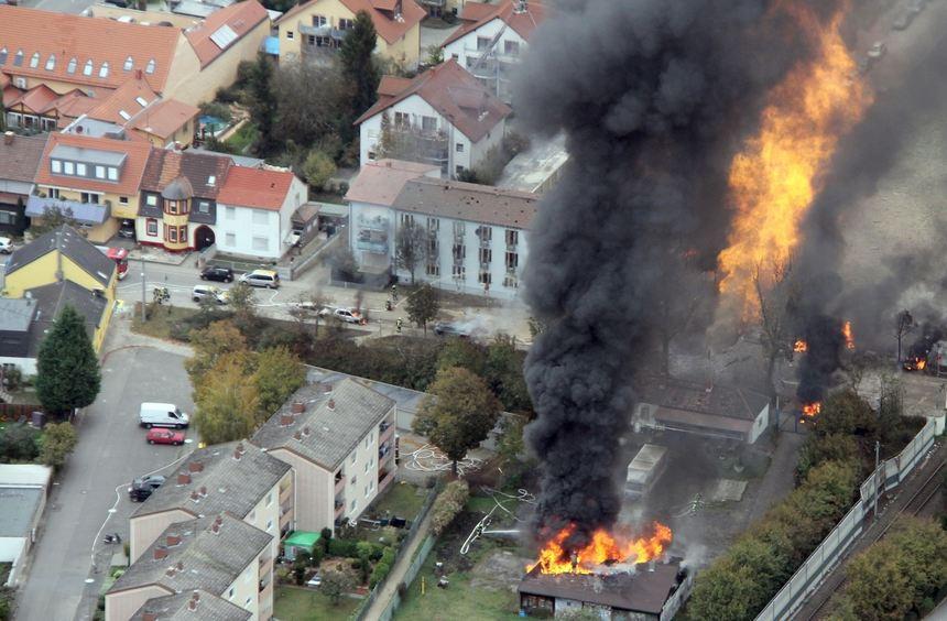 Eine Luftaufnahme von der verheerenden Gasexplosion in Ludwigshafen-Oppau.